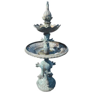 Bronze Lily Pad and Fish Fountain