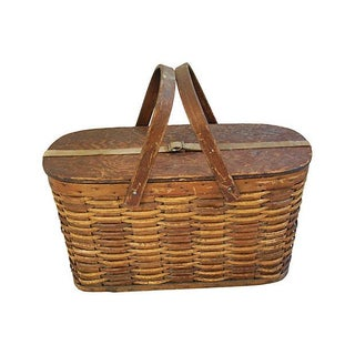 1920s Hawkeye Wicker And Tin Picnic Basket