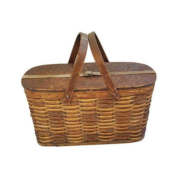 Antique 1920s Hawkeye Wicker And Tin Picnic Basket Chairish