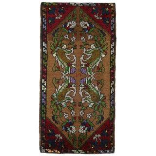 Stylized Floral Yastik | 1'10 x 3'5 Turkish Carpet