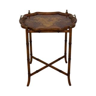 Maitland Smith Faux Bamboo Walnut Tray Top Table