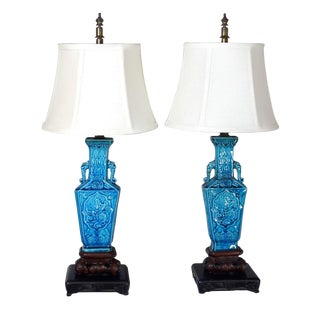 Vintage Blue Chinese Lamps - A Pair