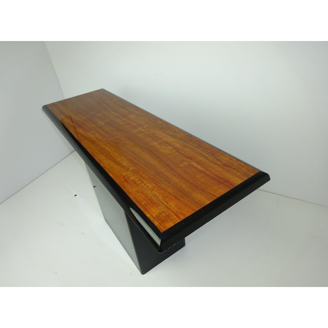 T Shaped Black & Wood Grain Console - Image 7 of 7