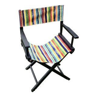 Stripe Upholstered Directors Chair