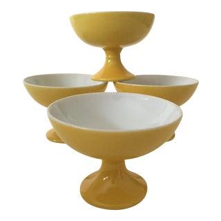 Mid-Century Modern Butter Yellow Ceramic Pedestal Dessert Bowls - Set of 4