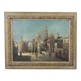 19th Century Orientalist Oil on Canvas Painting of a Street Scene in Cairo