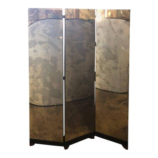 Art Deco Style Three-Panel Mirrored Room Screen or Divider