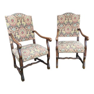 "19th Century French Solid Oak ""Os De Mouton"" Chairs - A Pair"