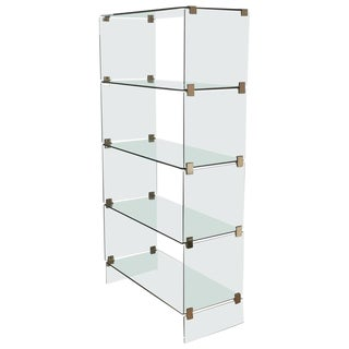 Pace Style Mid-Century Modern Brass and Glass Display Etagere