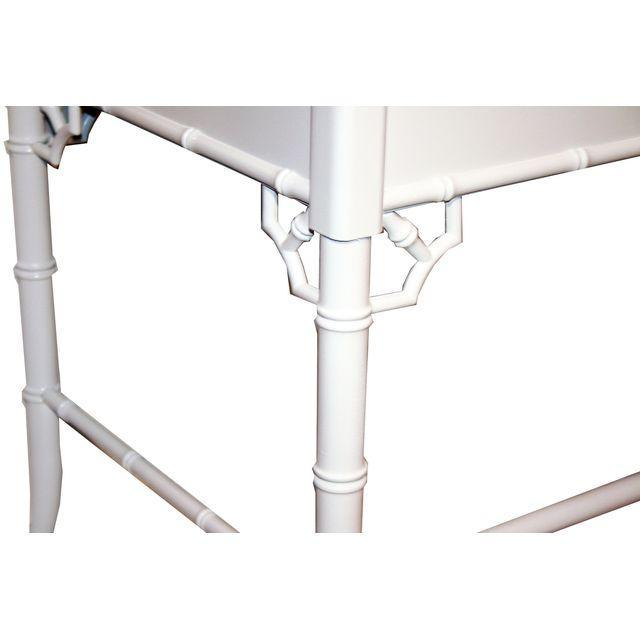 Thomasville Vintage Faux-Bamboo White Desk - Image 7 of 9