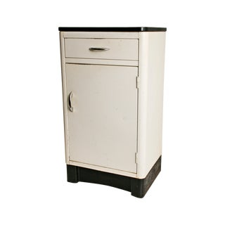 Mid-Century Enamel Top Metal Storage Cabinet