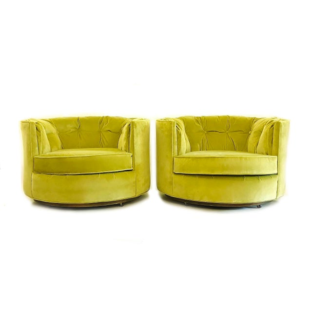 Vintage Chartreuse Velvet Club Chairs - a Pair - Image 5 of 5