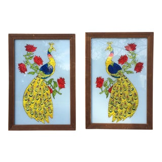 Peacock Reverse Glass Paintings- a Pair