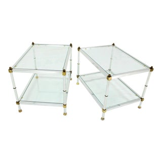 Pair of Mid-Century Modern Glass Brass Chrome Side or End Tables
