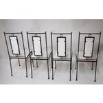 Image of Mid-Century Hollywood Regency Iron & Brass Dining Chairs -Set of 4