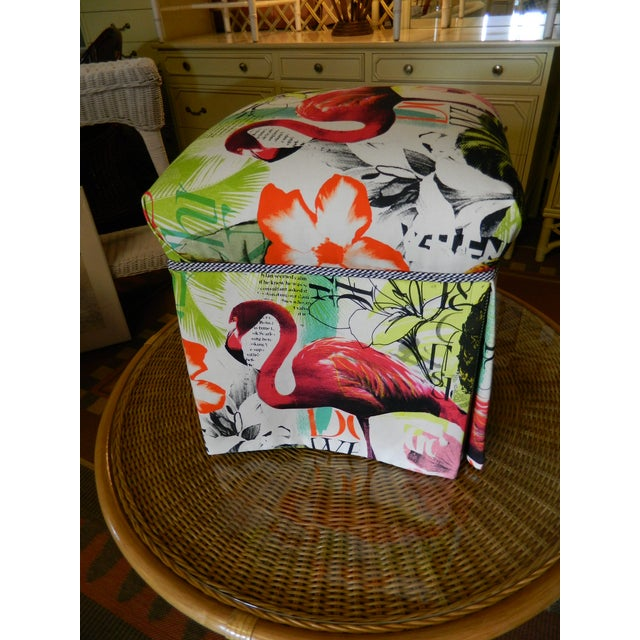 Palm Beach Regency Custom Upholstered Ottoman - Image 5 of 7