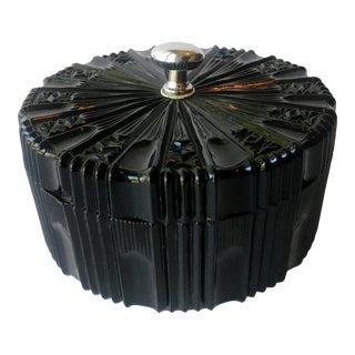 Art Deco Trinket Box Cut Glass Black