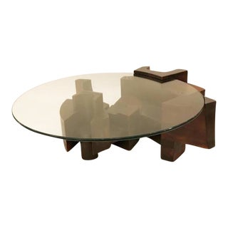 Modernist Cocktail Table in Stained Wood and Glass by Nerone Ceccarelli