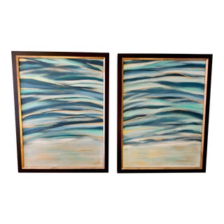 Sunset Waves Framed Original Abstract Paintings - A Pair