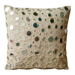 Embroidered Mirrored Throw Pillows - A Pair
