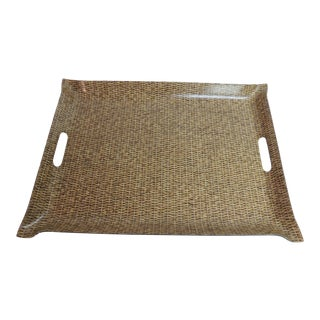 Vintage Plastic Serving Tray in Wicker
