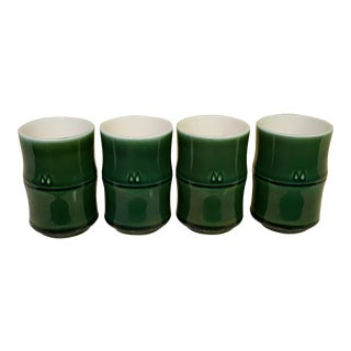 Vintage Green Sake Cups - Set of 4