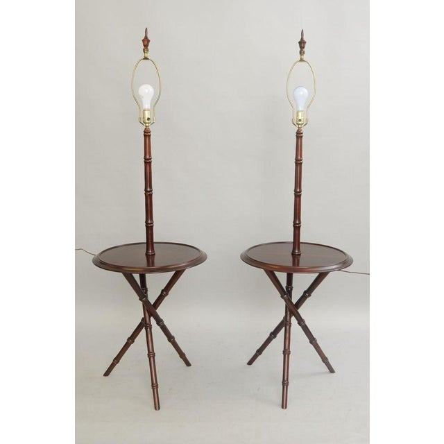 Chinese Chippendale Faux Bamboo Lamp Tables - A Pair - Image 2 of 11