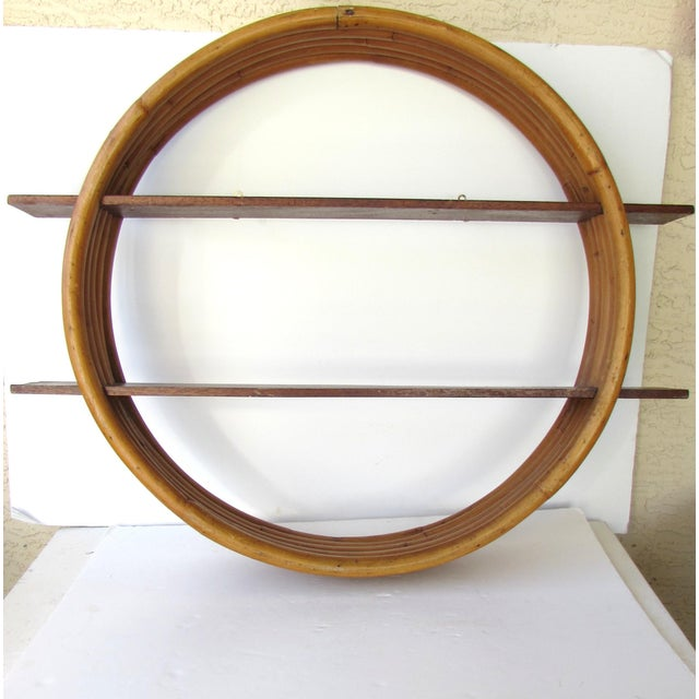 Rattan Wall Decor Round : Vintage round rattan wall shelf chairish