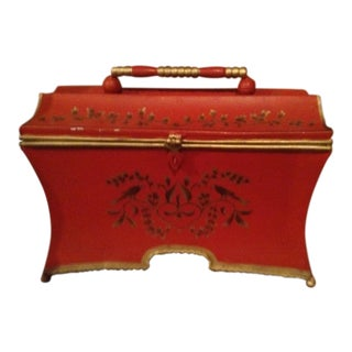 Red & Gold Tole Metallic Box