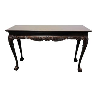 Drexel Heritage Heirlooms Chippendale Inlaid Mahogany Ball Claw Console Table
