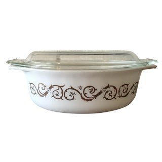 Pyrex Empire Gold Scroll Lidded Casserole Dish