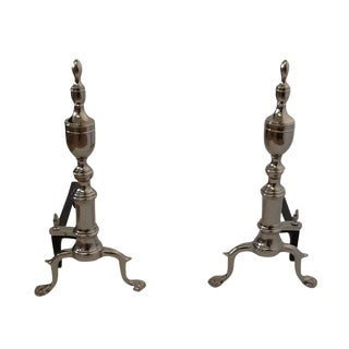 Colonial Style Chrome Andirons - A Pair