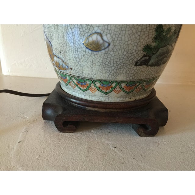 Vintage Asian Table Lamp With Wooden Base - Image 8 of 11