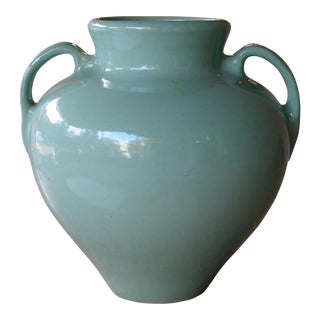 A Large-Scaled American Pottery Aqua-Glazed Urn