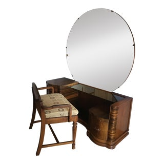 1930s Art Deco Waterfall Vanity & Chair