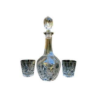 Vintage French Crystal Decanter & 2 Rocks Glasses