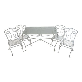 Vintage Iron Outdoor Patio Salterini Dining Table & Chairs - Set of 5