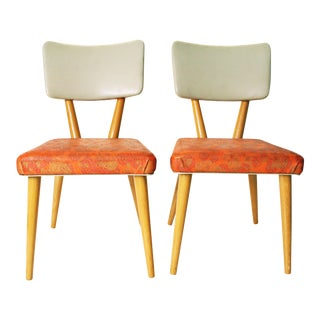Mid-Century Wood & Pink Vinyl Dining Chairs - A Pair