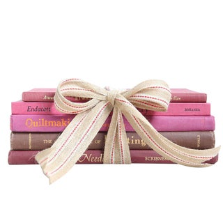 "Vintage Pink Book Gift Set: ""Made by Hand"" Art - Set of 5"