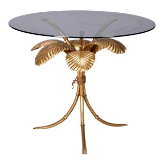 Mid Century Italian Gilt Metal Palm Leaf Side Table