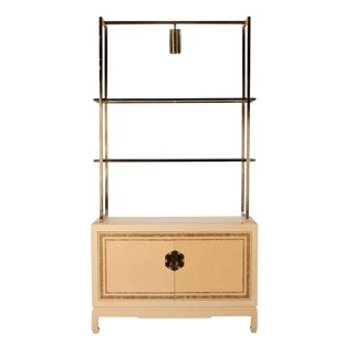James Mont Style Blond Lacquered and Brass Display Cabinet