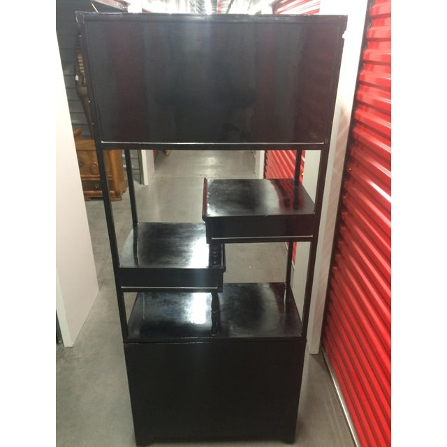 Asian Black Lacquer Cabinet With Shelves - Image 10 of 11