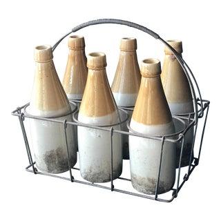 Vintage Stoneware Bottles in Carrier
