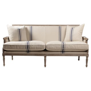 Louis XVI French Linen Sofa, Navy Stripe