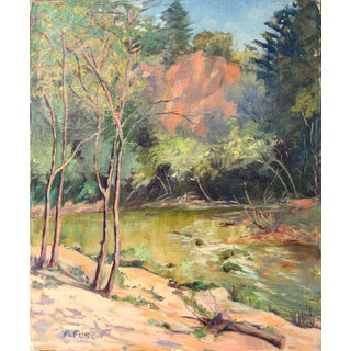 1950s Vintage California Forest and Stream Painting