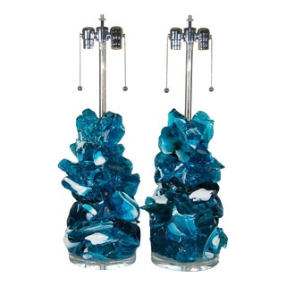 Rock Candy Glass Striped Lamps in Marine