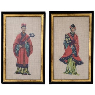 Vintage Chinese Bride & Groom Framed Textiles - A Pair