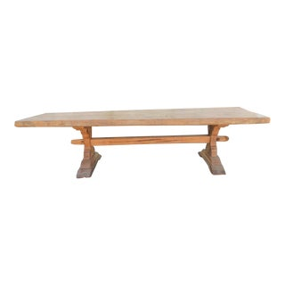 19th Century French Style Oak Slab Top Trestle Table