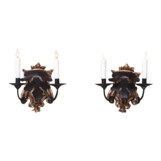Late 18th Century Italian Baroque Giltwood and Tole Sconces