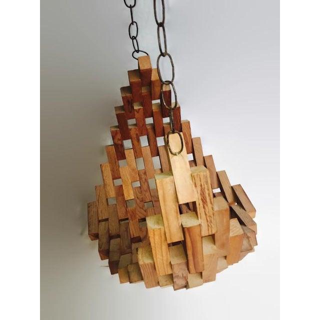 Large Mid-Century Wood Brutalist Hanging Planter - Image 7 of 7